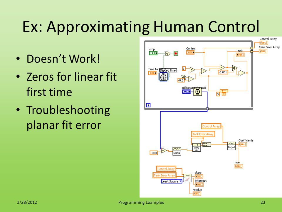 Ex: Approximating Human Control Doesn't Work! Zeros for linear fit first time Troubleshooting planar fit error 3/28/2012Programming Examples23