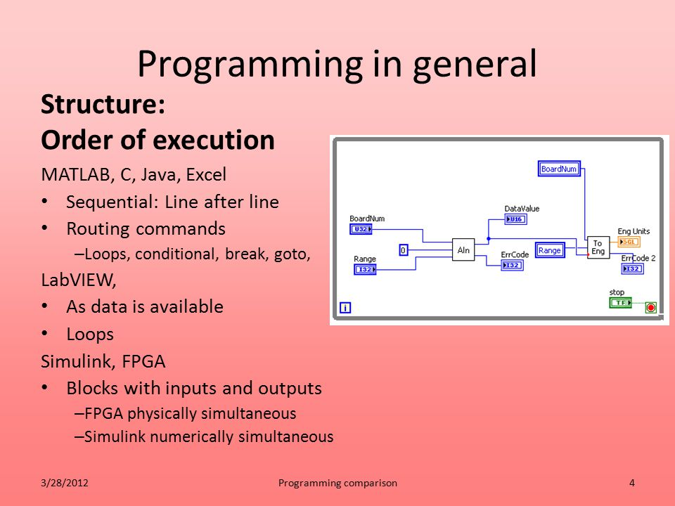 Programming in general Structure: Order of execution MATLAB, C, Java, Excel Sequential: Line after line Routing commands – Loops, conditional, break,
