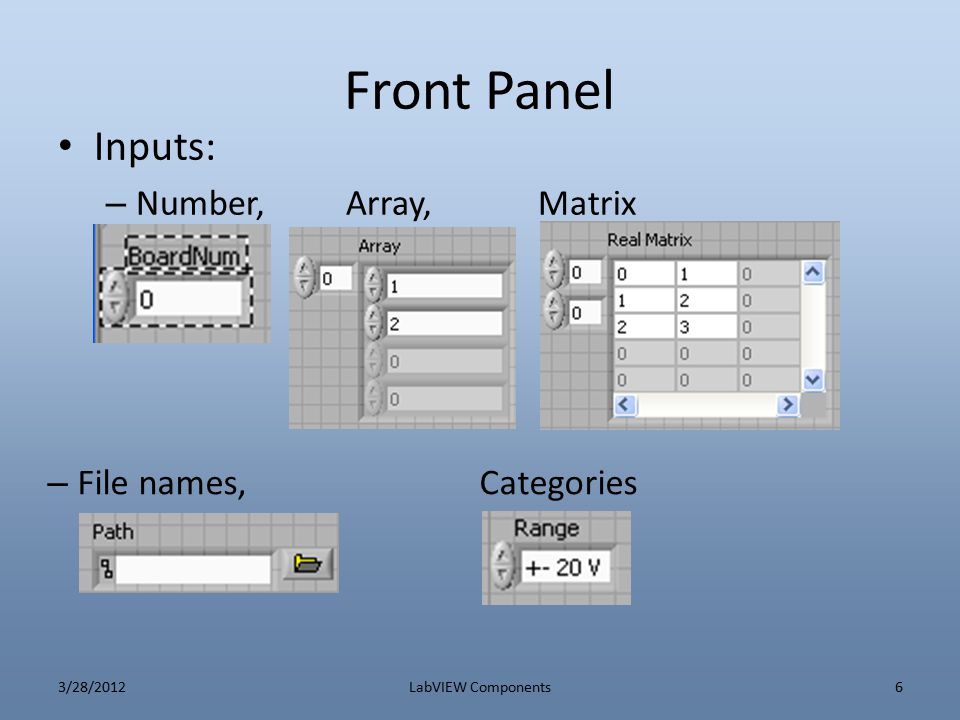 Front Panel Inputs: – BinaryMore Numeric 3/28/2012LabVIEW Components7
