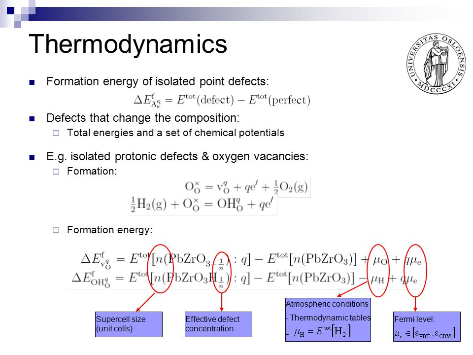 Thermodynamics Formation energy of isolated point defects: Defects that change the composition:  Total energies and a set of chemical potentials E.g.