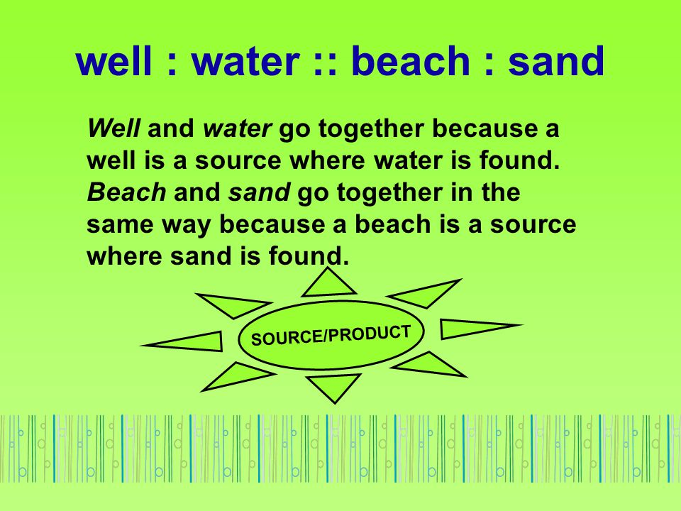 Well and water go together because a well is a source where water is found. Beach and sand go together in the same way because a beach is a source whe