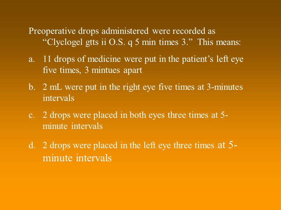 "Preoperative drops administered were recorded as ""Clyclogel gtts ii O.S. q 5 min times 3."" This means: a.11 drops of medicine were put in the patient'"