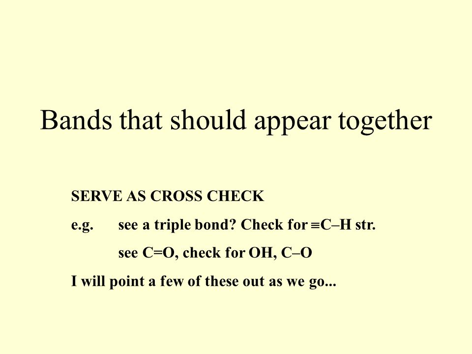 Bands that should appear together SERVE AS CROSS CHECK e.g.