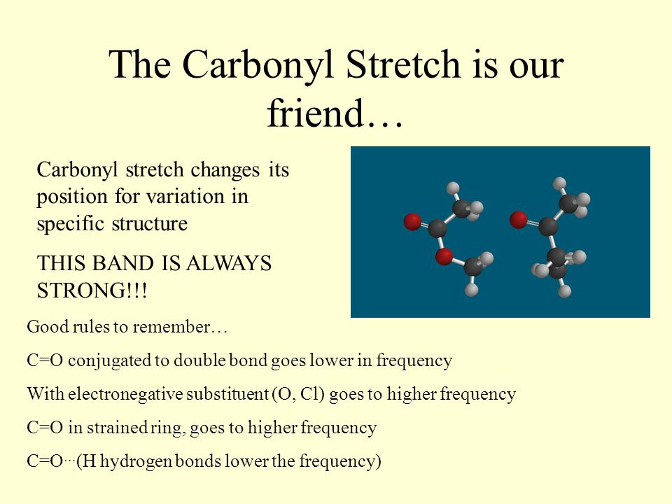 The Carbonyl Stretch is our friend… Carbonyl stretch changes its position for variation in specific structure THIS BAND IS ALWAYS STRONG!!.