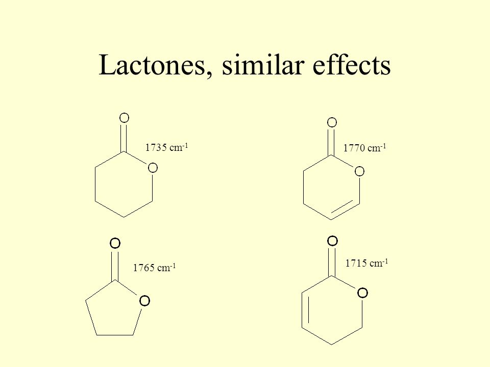 Lactones, similar effects 1735 cm -1 1765 cm -1 1770 cm -1 1715 cm -1