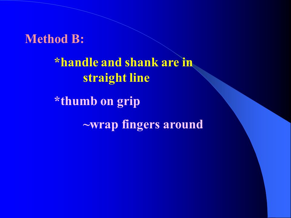 Method B: *handle and shank are in straight line *thumb on grip ~wrap fingers around