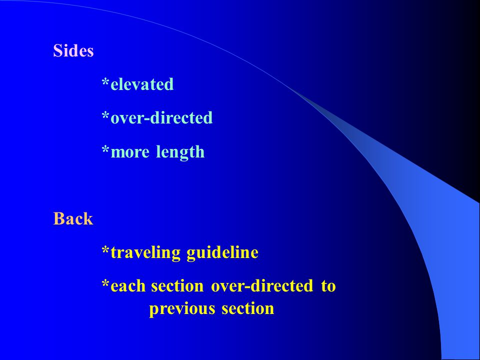 Sides *elevated *over-directed *more length Back *traveling guideline *each section over-directed to previous section