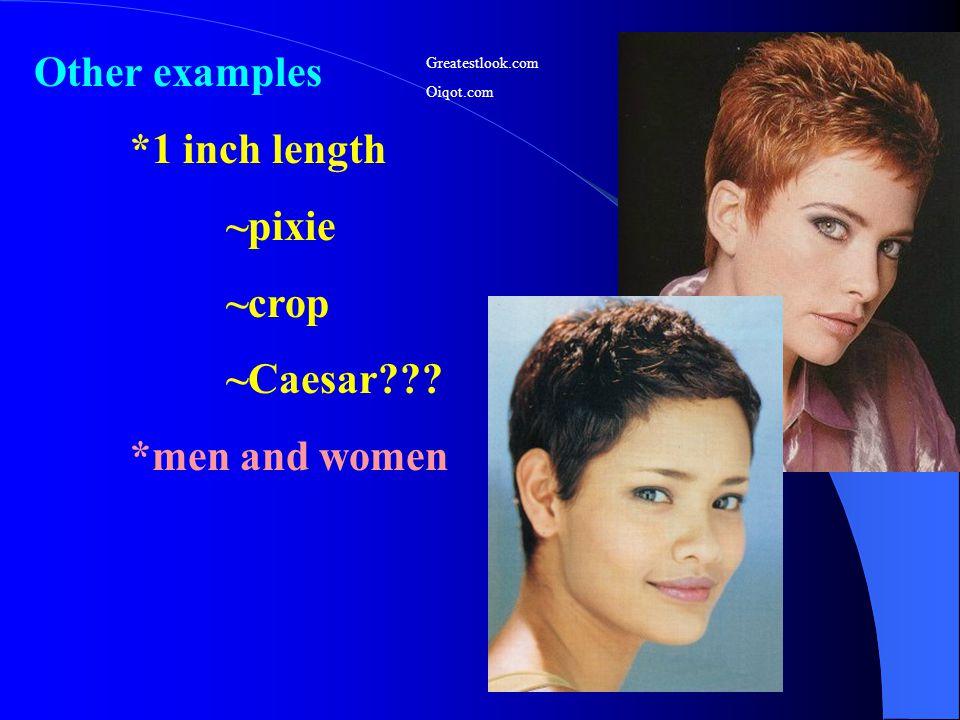 Other examples *1 inch length ~pixie ~crop ~Caesar??? *men and women Greatestlook.com Oiqot.com