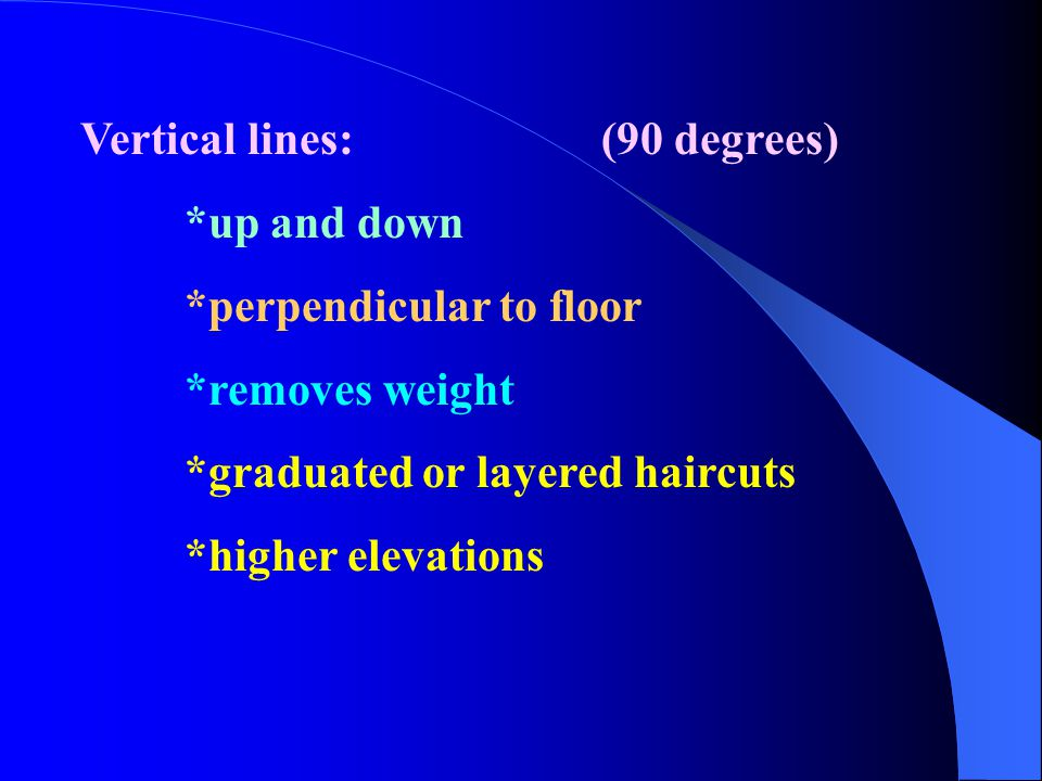 Vertical lines:(90 degrees) *up and down *perpendicular to floor *removes weight *graduated or layered haircuts *higher elevations