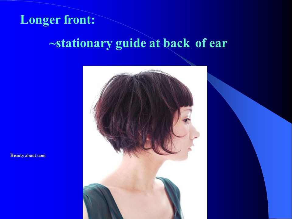 Longer front: ~stationary guide at back of ear Beauty.about.com