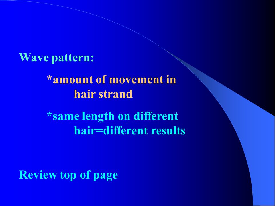 Wave pattern: *amount of movement in hair strand *same length on different hair=different results Review top of page
