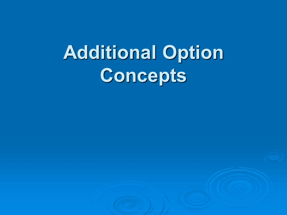 Additional Option Concepts