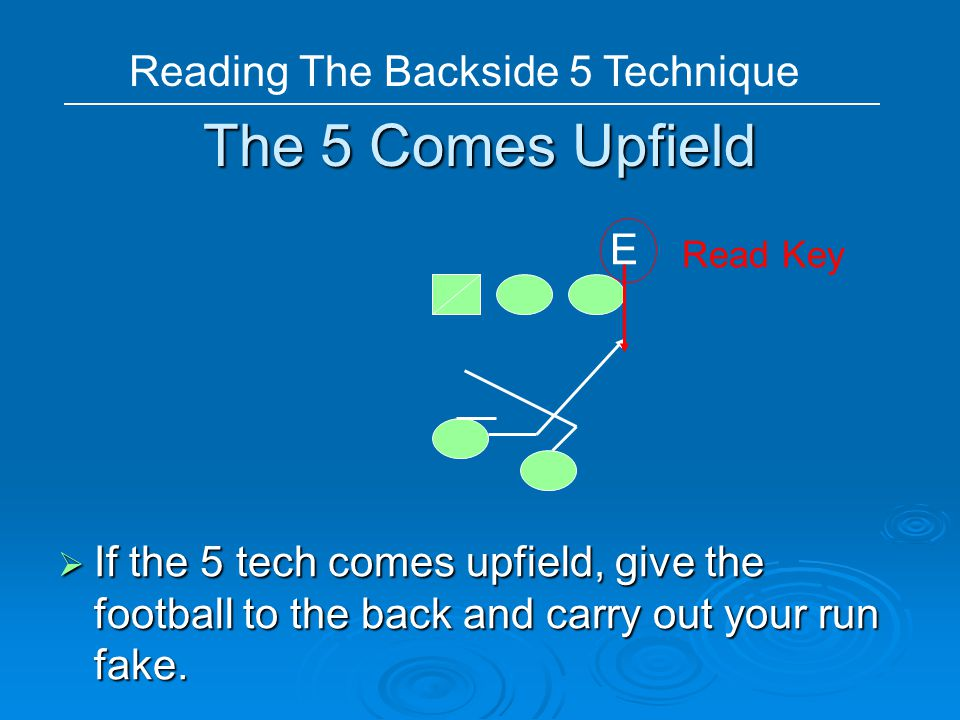 The 5 Comes Upfield  If the 5 tech comes upfield, give the football to the back and carry out your run fake. E Read Key Reading The Backside 5 Techni