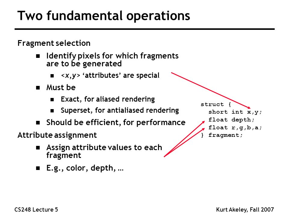 CS248 Lecture 5Kurt Akeley, Fall 2007 Two fundamental operations Fragment selection n Identify pixels for which fragments are to be generated n 'attri