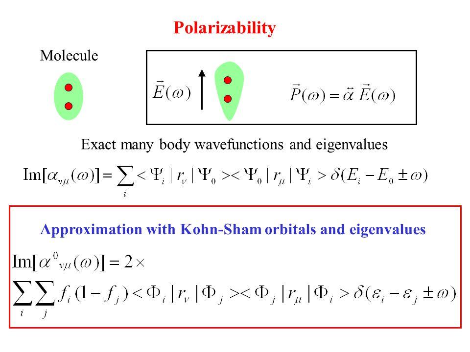 Polarizability Exact many body wavefunctions and eigenvalues Approximation with Kohn-Sham orbitals and eigenvalues Molecule