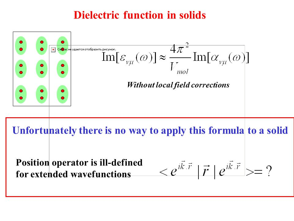 Dielectric function in solids Without local field corrections Unfortunately there is no way to apply this formula to a solid Position operator is ill-