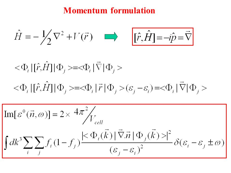 Momentum formulation