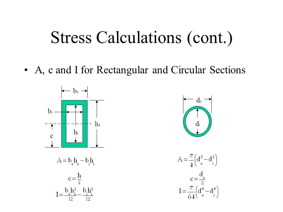 Stress Calculations (cont.) A, c and I for Rectangular and Circular Sections bobo c hoho bibi hihi dodo didi