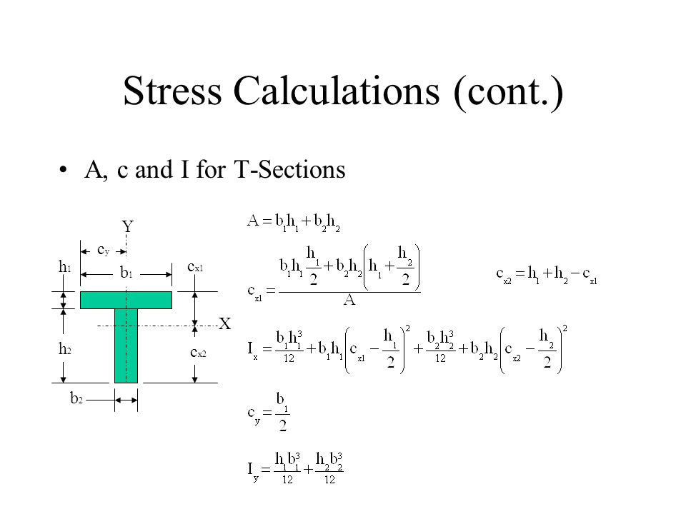 Stress Calculations (cont.) A, c and I for T-Sections X Y b1b1 h2h2 b2b2 cycy h1h1 c x1 c x2