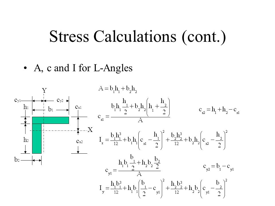 Stress Calculations (cont.) A, c and I for L-Angles X Y b1b1 h2h2 b2b2 c y1 h1h1 c x1 c x2 c y2