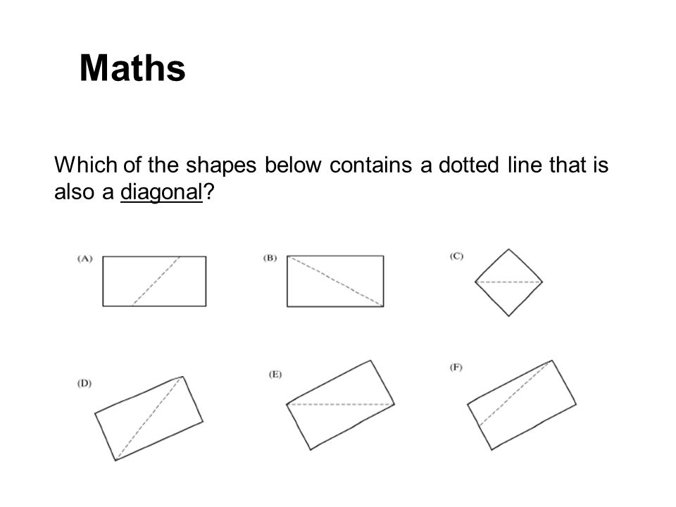 Which of the shapes below contains a dotted line that is also a diagonal? Maths