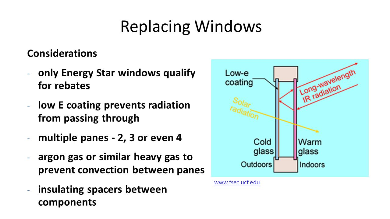 Replacing Windows Considerations - only Energy Star windows qualify for rebates - low E coating prevents radiation from passing through - multiple pan