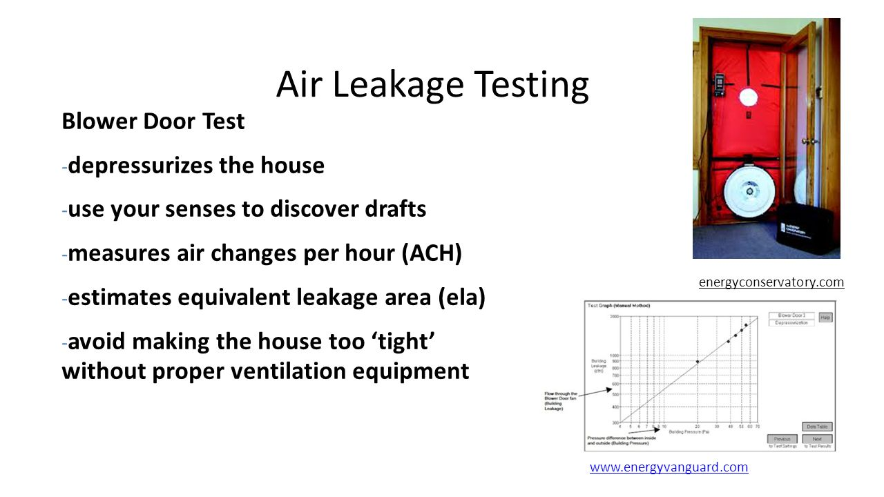 Air Leakage Testing Blower Door Test - depressurizes the house - use your senses to discover drafts - measures air changes per hour (ACH) - estimates