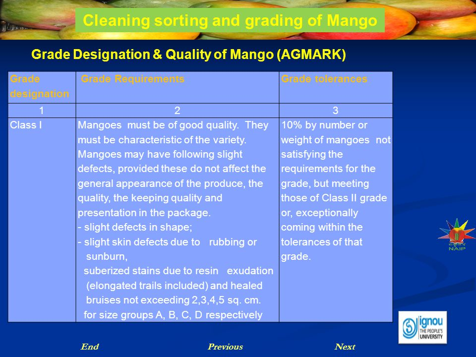 Grade Designation & Quality of Mango (AGMARK) NextPreviousEnd Cleaning sorting and grading of Mango Grade designation Grade RequirementsGrade toleranc