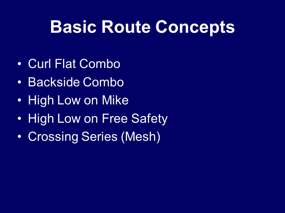 Basic Route Concepts Curl Flat Combo Backside Combo High Low on Mike High Low on Free Safety Crossing Series (Mesh)
