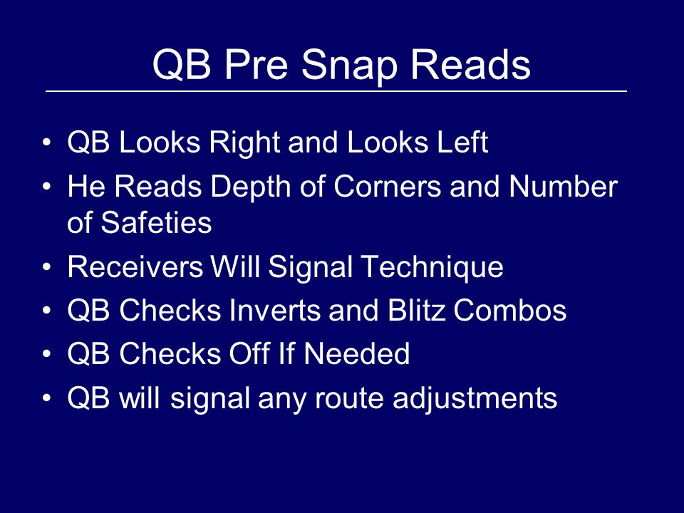 QB Pre Snap Reads QB Looks Right and Looks Left He Reads Depth of Corners and Number of Safeties Receivers Will Signal Technique QB Checks Inverts and Blitz Combos QB Checks Off If Needed QB will signal any route adjustments