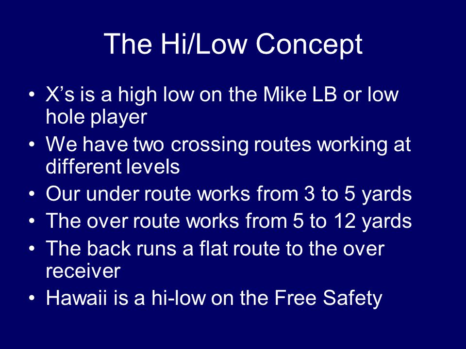 The Hi/Low Concept X's is a high low on the Mike LB or low hole player We have two crossing routes working at different levels Our under route works from 3 to 5 yards The over route works from 5 to 12 yards The back runs a flat route to the over receiver Hawaii is a hi-low on the Free Safety