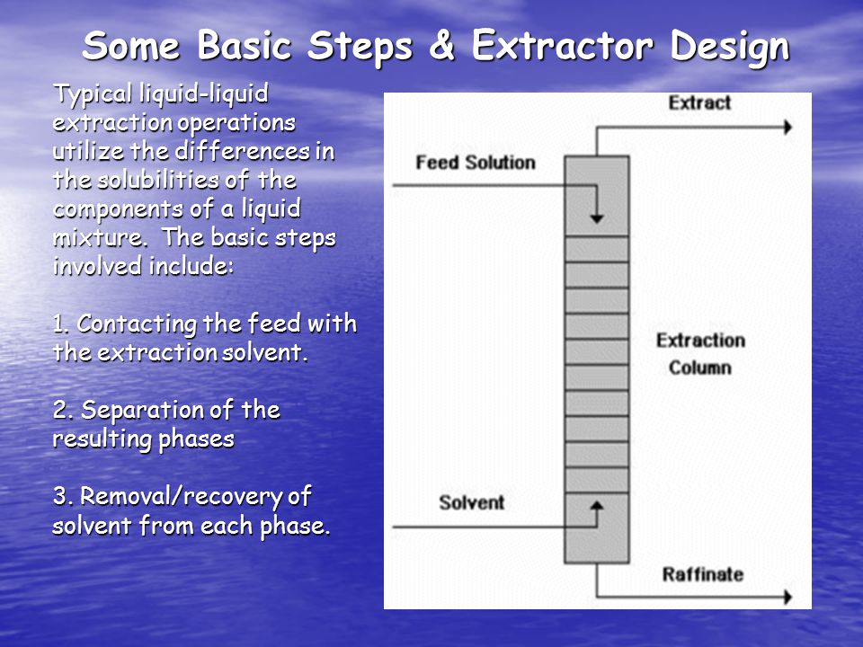 Basic Steps Typical liquid-liquid extraction operations utilize the differences in the solubilities of the components of a liquid mixture.