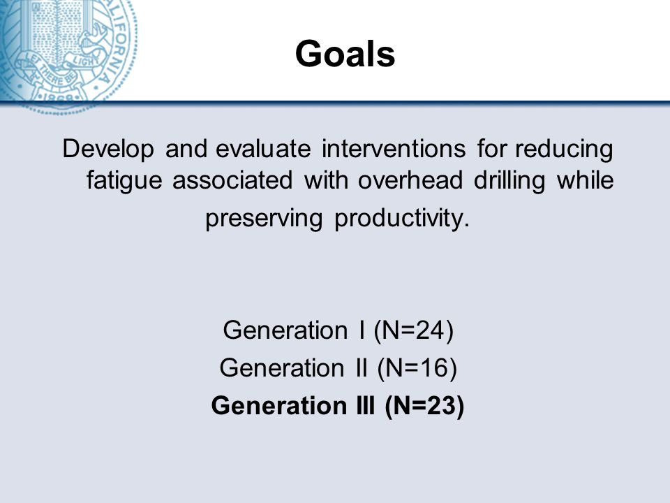 Goals Develop and evaluate interventions for reducing fatigue associated with overhead drilling while preserving productivity.