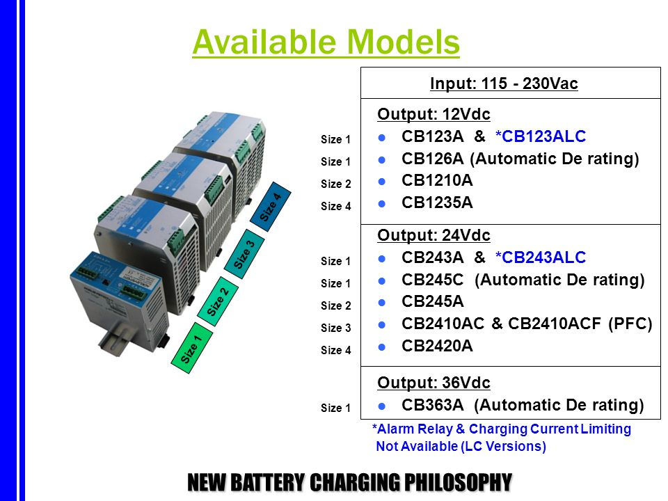 NEW BATTERY CHARGING PHILOSOPHY Output: 12Vdc CB123A & *CB123ALC CB126A (Automatic De rating) CB1210A CB1235A Output: 24Vdc CB243A & *CB243ALC CB245C