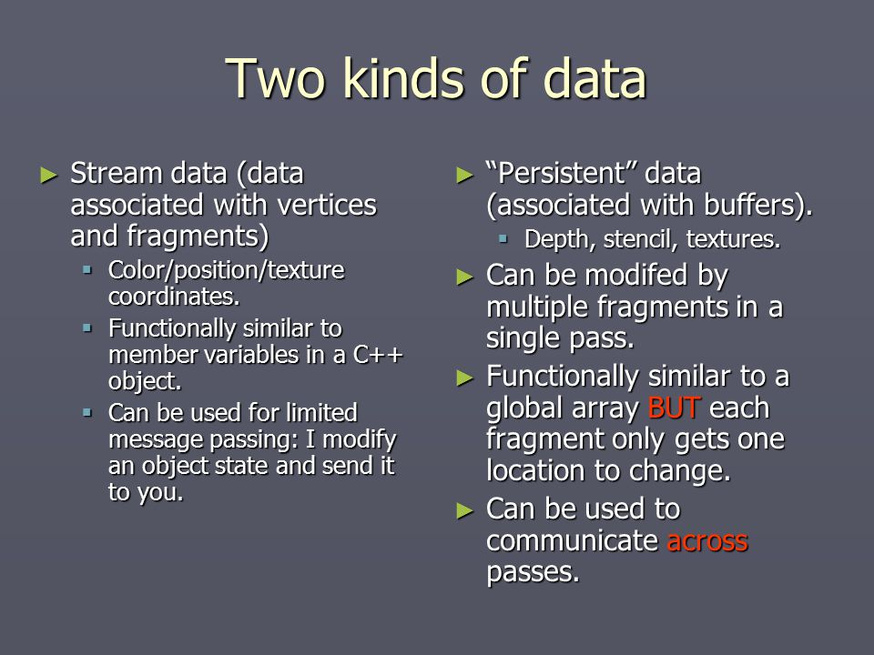 Two kinds of data ► Stream data (data associated with vertices and fragments)  Color/position/texture coordinates.