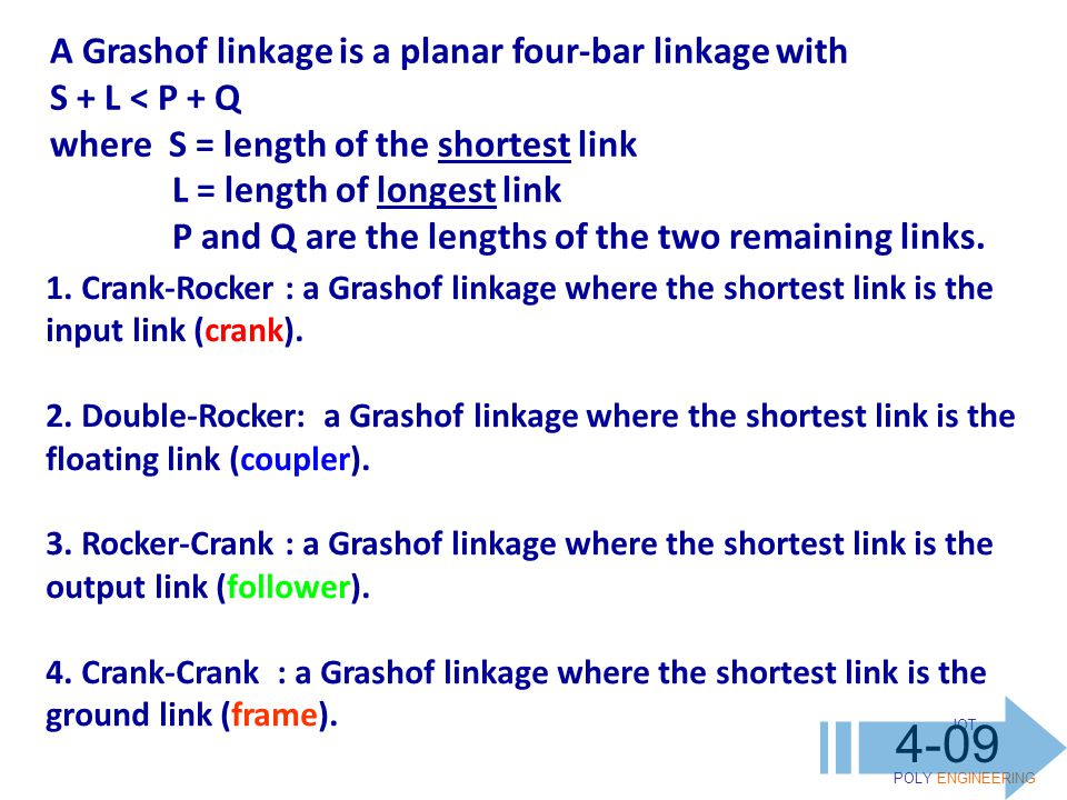 IOT POLY ENGINEERING 4-09 A Grashof linkage is a planar four-bar linkage with S + L < P + Q where S = length of the shortest link L = length of longest link P and Q are the lengths of the two remaining links.