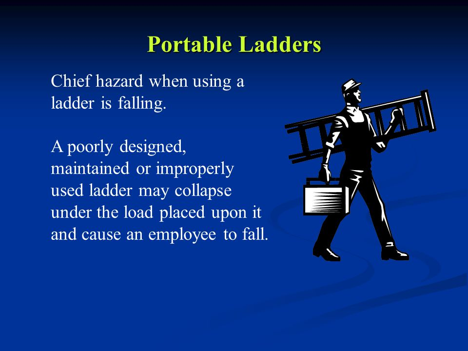 Portable Ladders Chief hazard when using a ladder is falling.