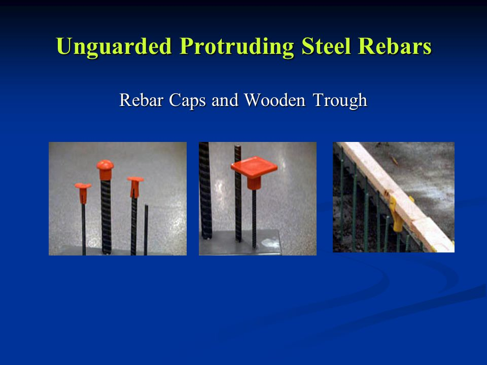 Unguarded Protruding Steel Rebars Rebar Caps and Wooden Trough