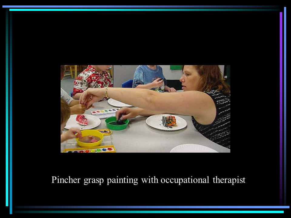 Pincher grasp painting with occupational therapist
