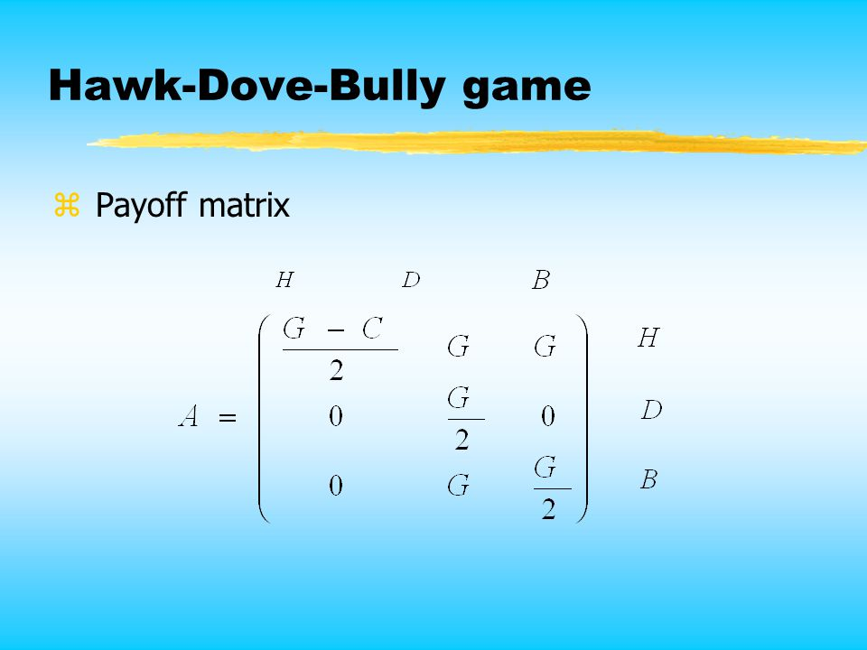 Hawk-Dove-Bully game z Payoff matrix