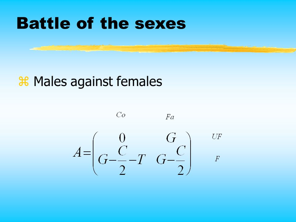 Battle of the sexes z Males against females