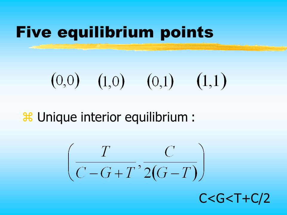 Five equilibrium points z Unique interior equilibrium : C<G<T+C/2