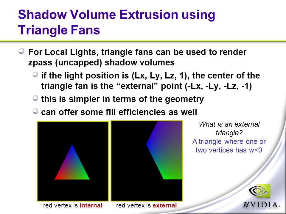 Shadow Volume Extrusion using Triangle Fans For Local Lights, triangle fans can be used to render zpass (uncapped) shadow volumes if the light positio