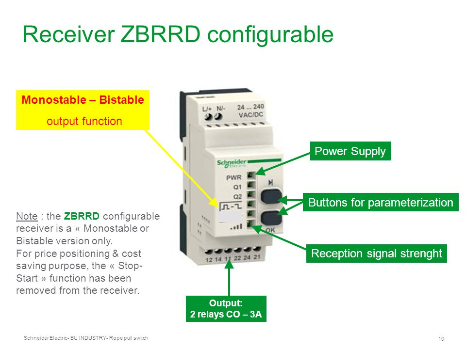 Schneider Electric 10 - BU INDUSTRY- Rope pull switch Receiver ZBRRD configurable Power Supply Output: 2 relays CO – 3A Monostable – Bistable output f
