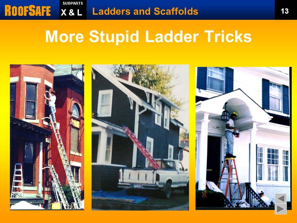 Stupid Ladder Tricks Ladders and Scaffolds 12 SUBPARTS X & L