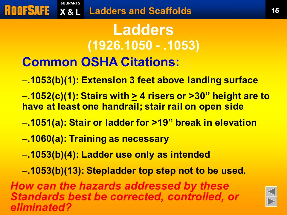 Your employer must train you..1060 Training Requirements Ladders and Scaffolds 14 SUBPARTS X & L