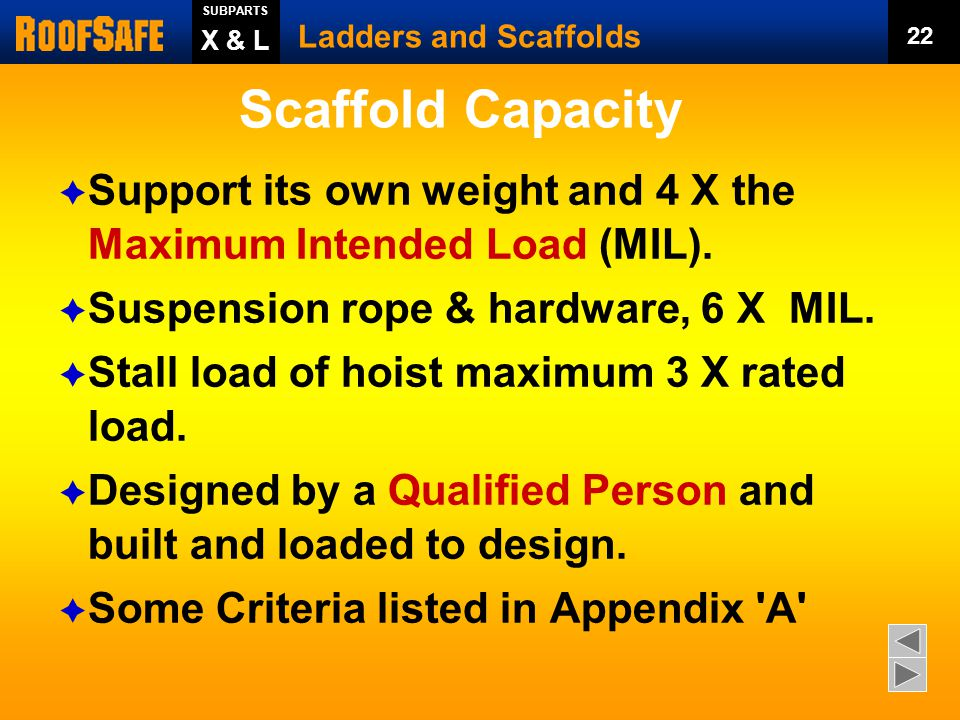 Ladders and Scaffolds 21 SUBPARTS X & L Firm Foundation?