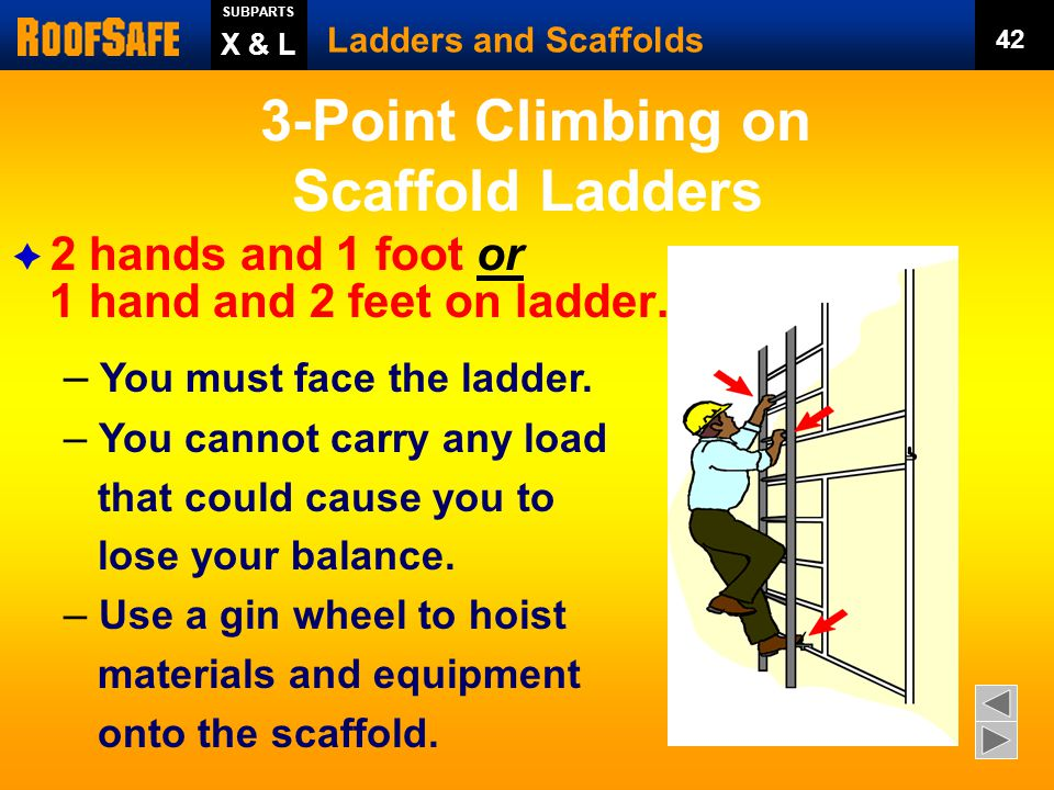  25% of scaffold accidents happen when workers get on or get off.