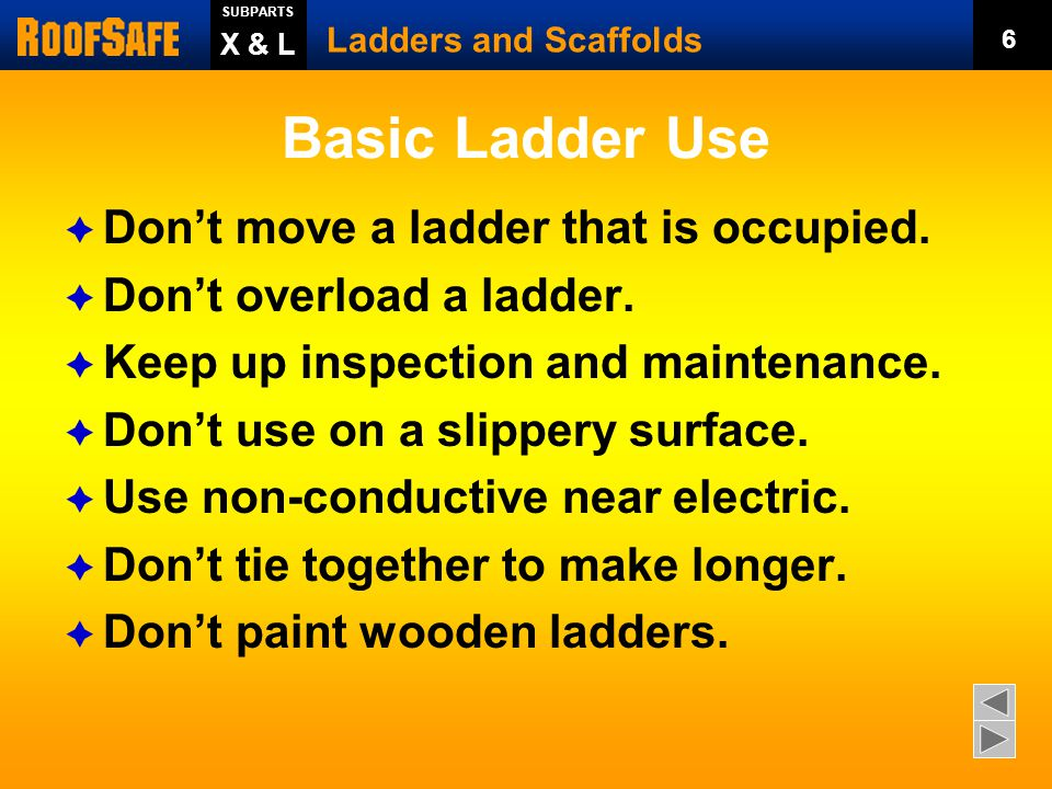 Basic Ladder Use  Use only for intended purpose. Extend 3 feet above surface.