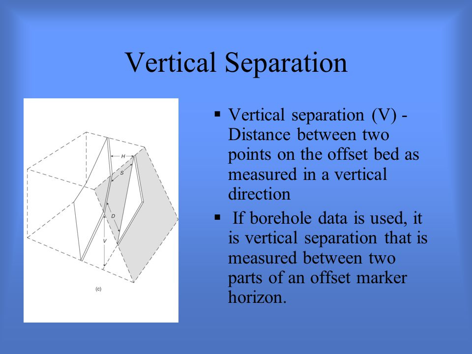 Vertical Separation  Vertical separation (V) - Distance between two points on the offset bed as measured in a vertical direction  If borehole data is used, it is vertical separation that is measured between two parts of an offset marker horizon.